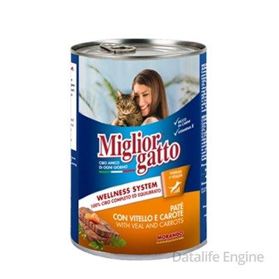 Паштет из телятины с морковью для кошек Miglior Pate 405г Кишинев