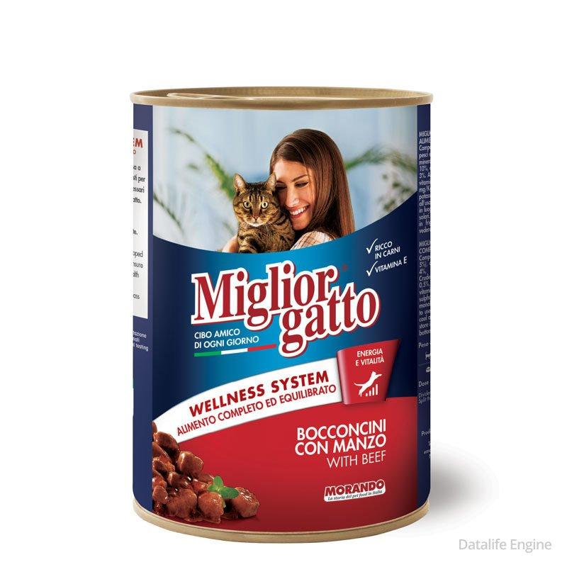 Кусочки говядины в желе для кошек Miglior Gatto Manzo 405g Кишинев